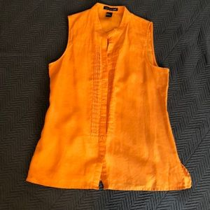 Sleeveless orange linen pleated blouse
